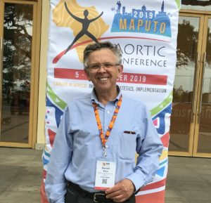 Photo of BHA President Darrell Ward at the 2019 AORTIC cancer conference held in Maputo, Mozambique.